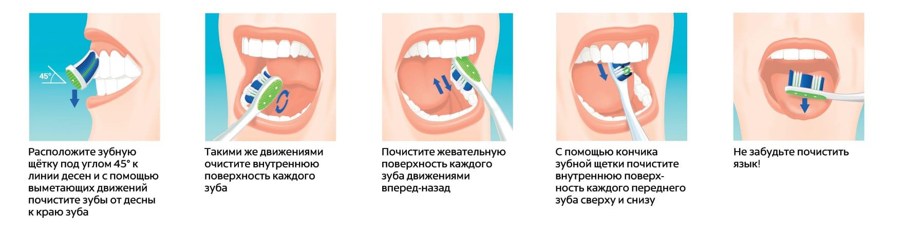 Правила чистки зубов щеткой
